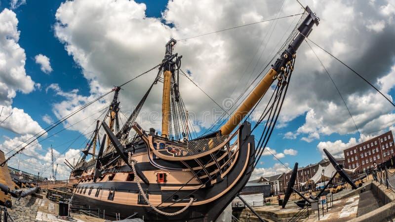 Νίκη HMS που ελλιμενίζεται στο Πόρτσμουθ Ήταν η ναυαρχίδα του ναυάρχου Nelson σε Trafalgar στοκ φωτογραφία