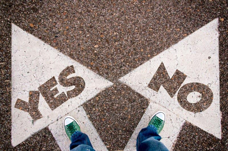 Ναι ή όχι dilem στοκ εικόνες