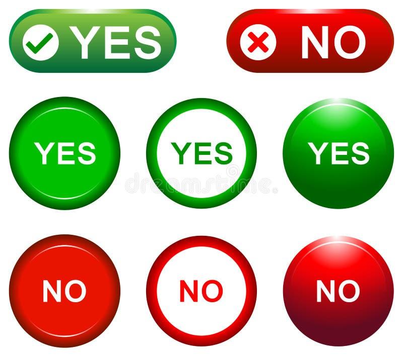 Ναι και κανένα κουμπί ελεύθερη απεικόνιση δικαιώματος
