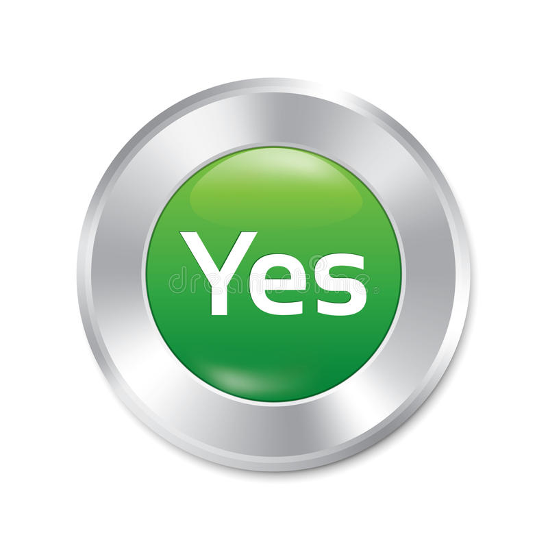 Ναι κουμπί. Δεχτείτε την πράσινη στρογγυλή αυτοκόλλητη ετικέττα. ελεύθερη απεικόνιση δικαιώματος