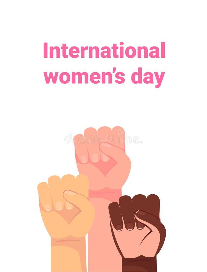 Ναι, οι γυναίκες μπορούν Χέρι γυναίκας με την πυγμή της που αυξάνεται επάνω Δύναμη κοριτσιών Έννοια φεμινισμού Διανυσματική απεικ ελεύθερη απεικόνιση δικαιώματος