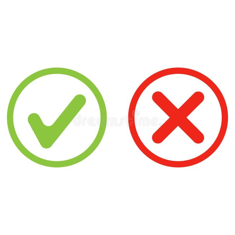ναι πράσινο και κόκκινο διάνυσμα εικονιδίων αριθ. διανυσματική απεικόνιση