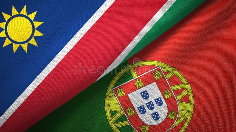 Ναμίμπια και Πορτογαλία δύο υφαντικό ύφασμα σημαιών, σύσταση υφάσματος απεικόνιση αποθεμάτων