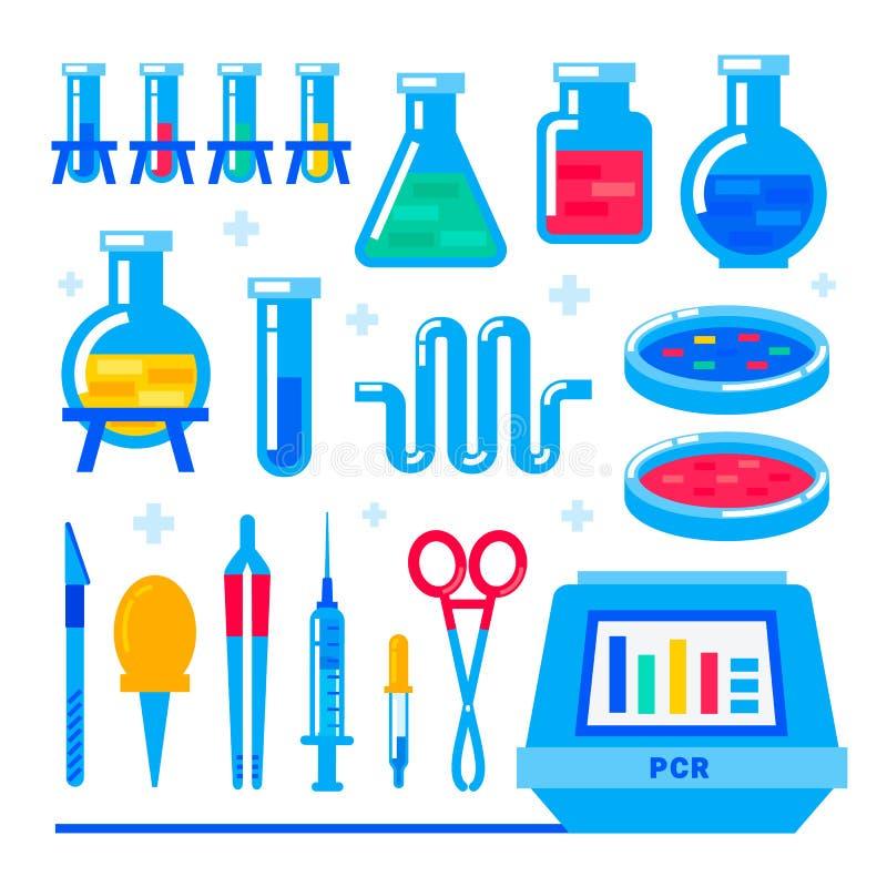 Νανοτεχνολογία και βιοχημεία PCR αλυσωτής αντίδρασης πολυμεράσεων μηχανή και εργαστηριακός εξοπλισμός Φιάλη, φιαλίδιο, δοκιμή-σωλ διανυσματική απεικόνιση
