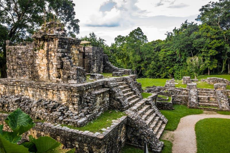 Ναοί της διαγώνιας ομάδας στις των Μάγια καταστροφές Palenque - Chiapas, Μεξικό στοκ εικόνες με δικαίωμα ελεύθερης χρήσης