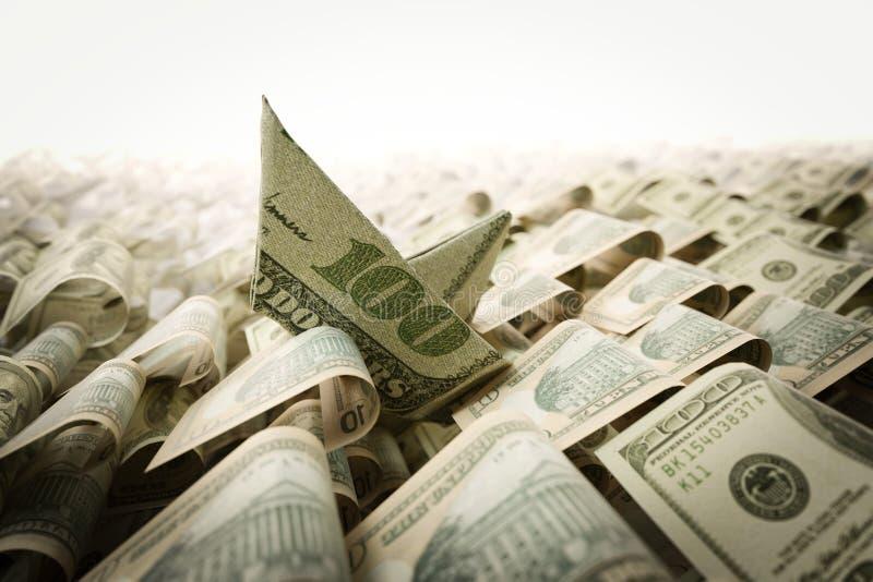 Ναυάγιο από το έγγραφο δολαρίων στη σύνθεση έννοιας θάλασσας χρημάτων στοκ εικόνες με δικαίωμα ελεύθερης χρήσης