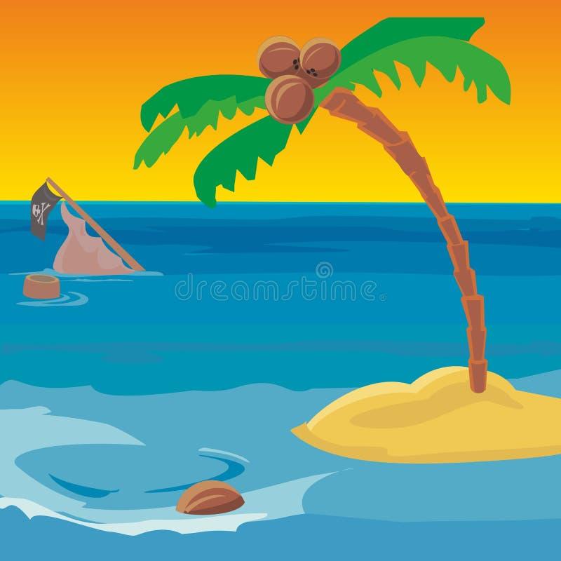 Ναυάγιο και ένα νησί ερήμων με ένα δέντρο καρύδων απεικόνιση αποθεμάτων