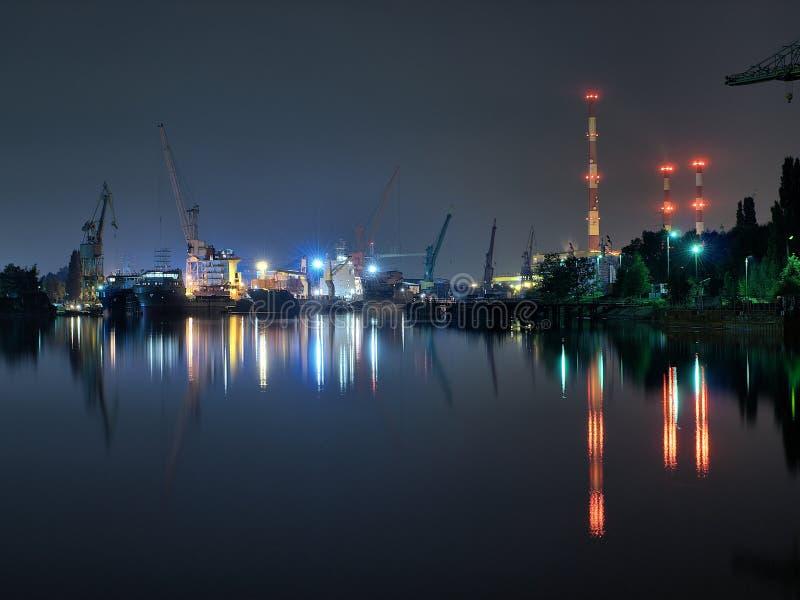 ναυπηγείο νύχτας του Γντ&al στοκ φωτογραφία