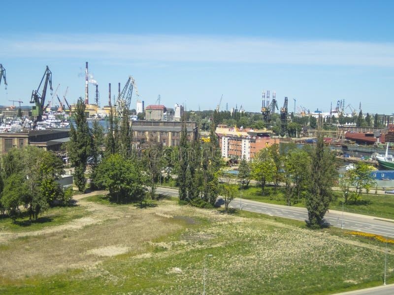 Ναυπηγείο του Γντανσκ, πανόραμα στοκ εικόνες