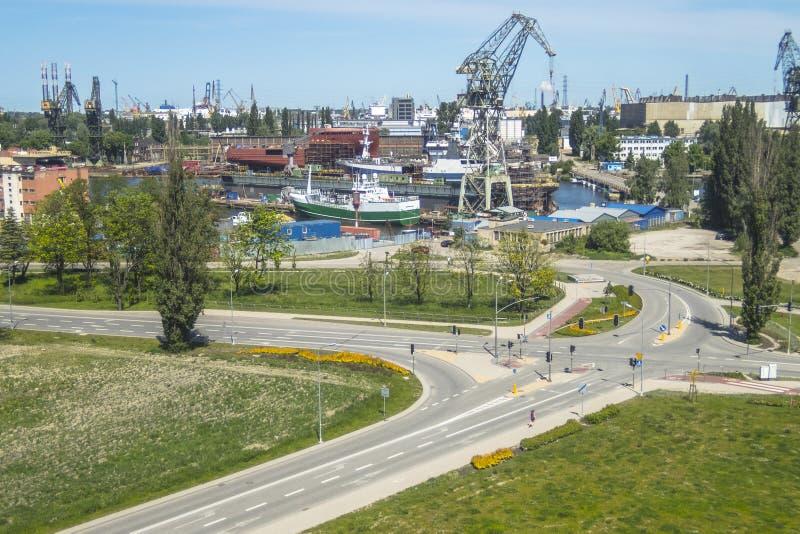 Ναυπηγείο του Γντανσκ, πανόραμα στοκ εικόνες με δικαίωμα ελεύθερης χρήσης