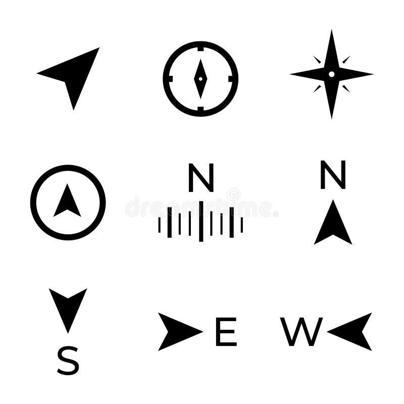 Ναυσιπλοΐα, κατευθύνσεις, εικονίδια πυξίδων διανυσματική απεικόνιση