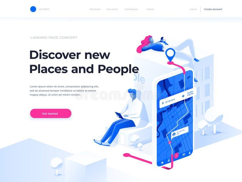 Ναυσιπλοΐα app με το χάρτη ΠΣΤ και έννοια καταδίωξης Οι άνθρωποι κουβεντιάζουν και εξερευνούν τη διαδρομή χρησιμοποιώντας smartph ελεύθερη απεικόνιση δικαιώματος