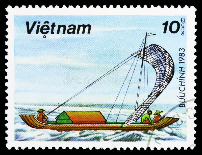 Ναυσιπλοΐα Sampan, Sampans αλιείας serie, circa 1983 στοκ εικόνα