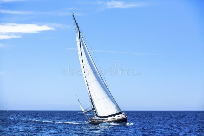 Ναυσιπλοΐα στον αέρα μέσω των κυμάτων Πλέοντας βάρκες στη Μεσόγειο Φύση στοκ φωτογραφίες