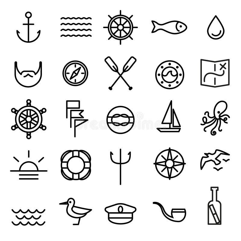 Ναυτικά, θαλάσσια εικονίδια γραμμών καθορισμένα διανυσματική απεικόνιση