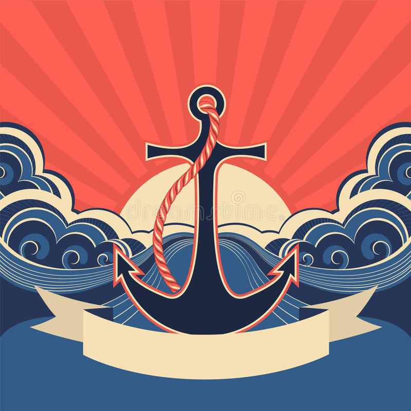 Ναυτική ετικέτα με την άγκυρα και τα μπλε κύματα θάλασσας ελεύθερη απεικόνιση δικαιώματος
