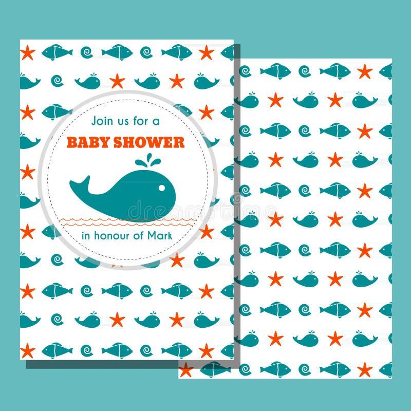 Ναυτική κάρτα ντους μωρών απεικόνιση αποθεμάτων