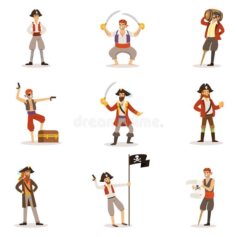 Ναυτικοί πειρατών με το κλασικό σύνολο ιδιοτήτων Filibusterer χαμογελώντας αρσενικών χαρακτήρων με τα πυροβόλα όπλα και Sabers απεικόνιση αποθεμάτων