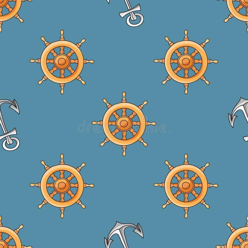 Ναυτικός ή θαλάσσιος το άνευ ραφής σχέδιο με την άγκυρα και το τιμόνι διανυσματική απεικόνιση