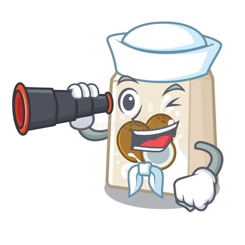 Ναυτικός με το διοφθαλμικό γάλα cococnut στη μορφή μασκότ διανυσματική απεικόνιση