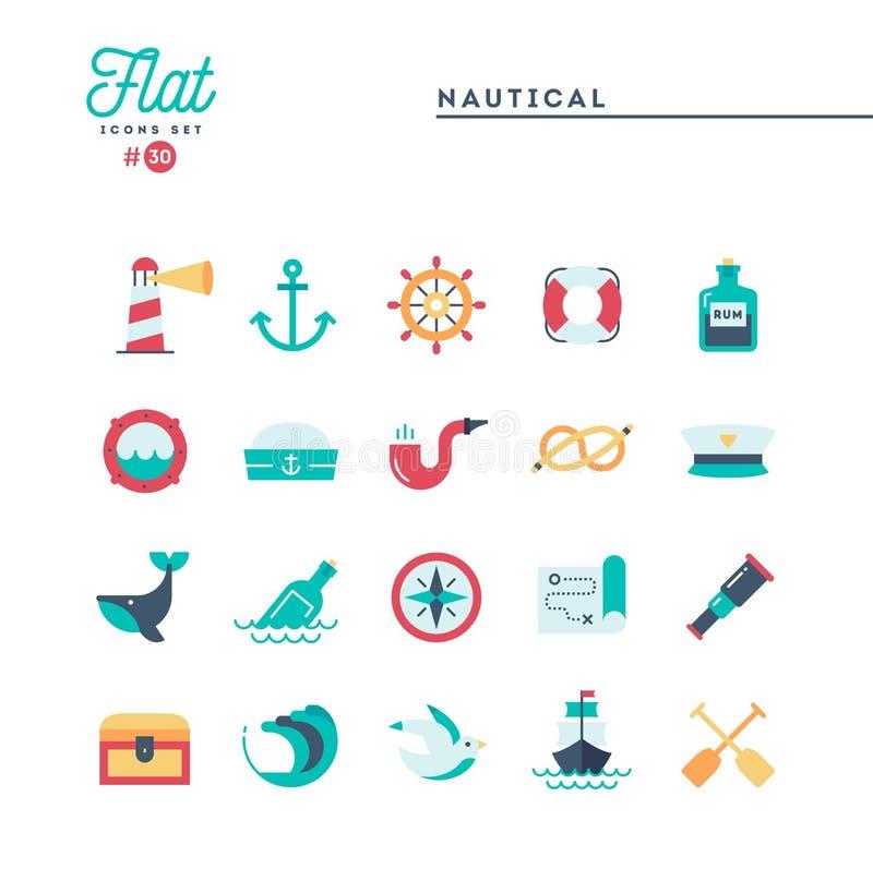Ναυτικός, ναυσιπλοΐα, ζώα θάλασσας, ναυτικό και περισσότερο, επίπεδα εικονίδια καθορισμένα απεικόνιση αποθεμάτων