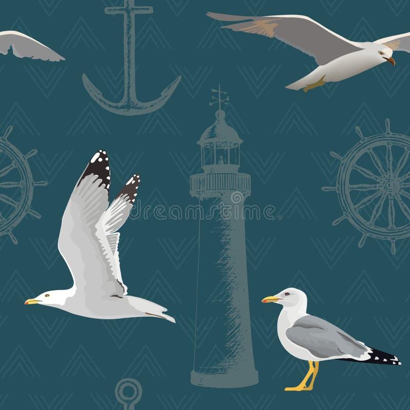 Ναυτικό άνευ ραφής σχέδιο Να αιωρηθεί και στήριξης γλάροι, τιμόνι, τιμόνι, άγκυρα, φάρος Χαραγμένο μάνδρα σκίτσο μελανιού ελεύθερη απεικόνιση δικαιώματος