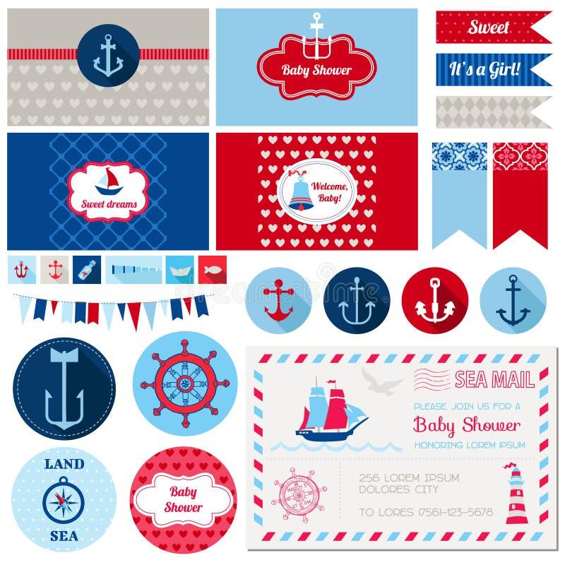 Ναυτικό θέμα ντους μωρών ελεύθερη απεικόνιση δικαιώματος