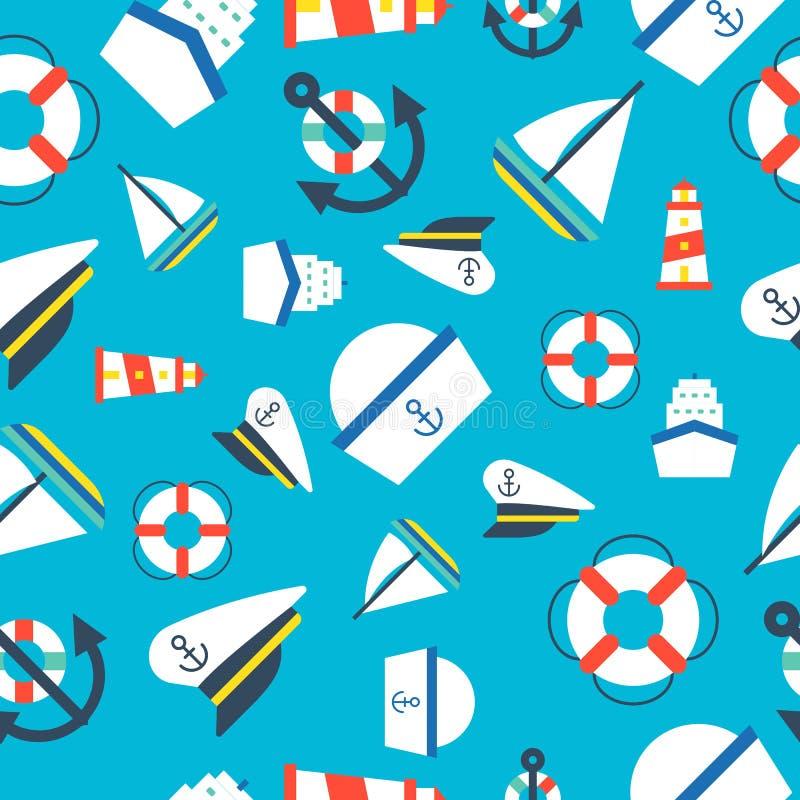 Ναυτικό και ωκεάνιο άνευ ραφής σχέδιο, επίπεδο σχέδιο απεικόνιση αποθεμάτων