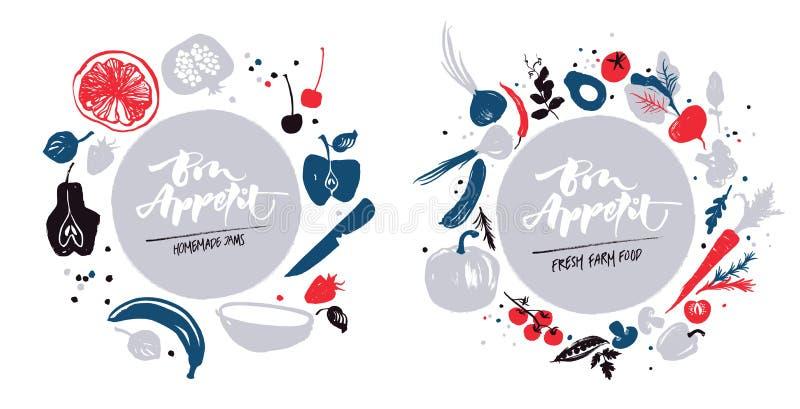 Ναυτικό-μπλε-κόκκινο που χρωματίζεται διάφορο των λαχανικών και των φρούτων σε έναν κύκλο Ετικέτα για την αγορά επιλογών ή αγροκτ διανυσματική απεικόνιση