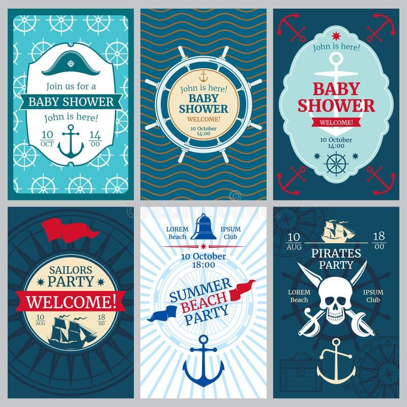 Ναυτικό ντους μωρών, γενέθλια, διανυσματικές κάρτες πρόσκλησης κομμάτων παραλιών ελεύθερη απεικόνιση δικαιώματος