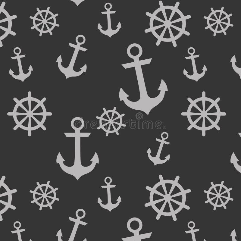 Ναυτικό σχέδιο αγκύρων και ροδών απεικόνιση αποθεμάτων