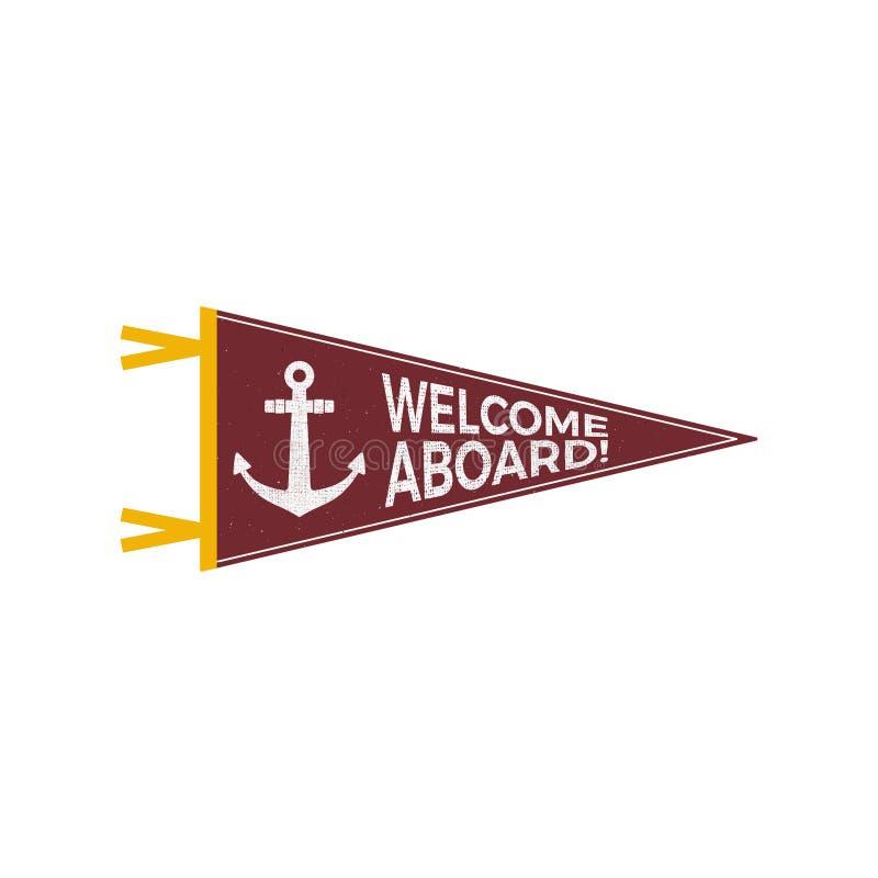 Ναυτικό σχέδιο σημαιών Έμβλημα ναυτικών Σχέδιο ετικετών και τυπωμένων υλών αγκύρων με το σύμβολο αγκύρων, διακριτικό τυπογραφίας  διανυσματική απεικόνιση