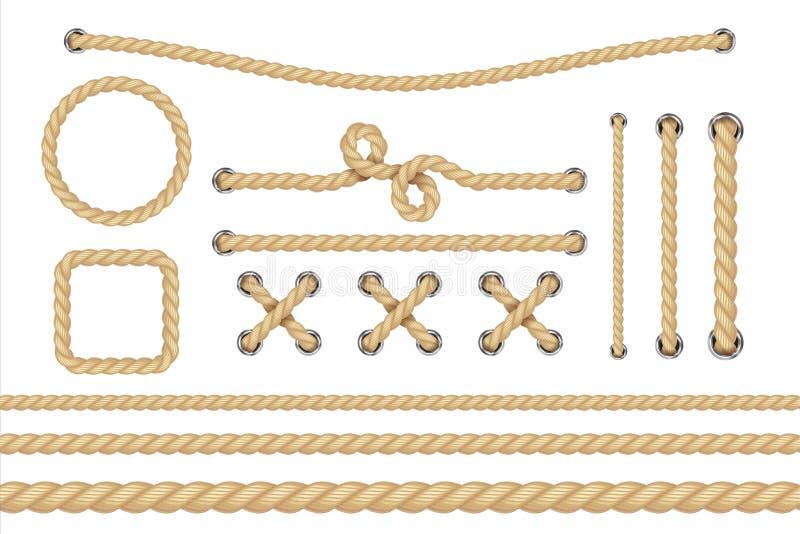 ναυτικό σχοινί Στρογγυλά και τετραγωνικά πλαίσια σχοινιών, σύνορα σκοινιού Πλέοντας διανυσματικά στοιχεία διακοσμήσεων ελεύθερη απεικόνιση δικαιώματος