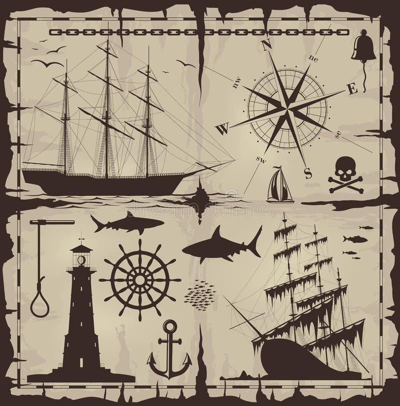 ναυτικό σύνολο στοιχείω&n διανυσματική απεικόνιση
