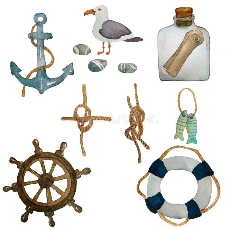Ναυτικό σύνολο Watercolor ταξιδιού θάλασσας Συρμένα χέρι στοιχεία κινούμενων σχεδίων: seahouse, ψάρια, γλάρος, χαλίκια, κόμβοι θά απεικόνιση αποθεμάτων
