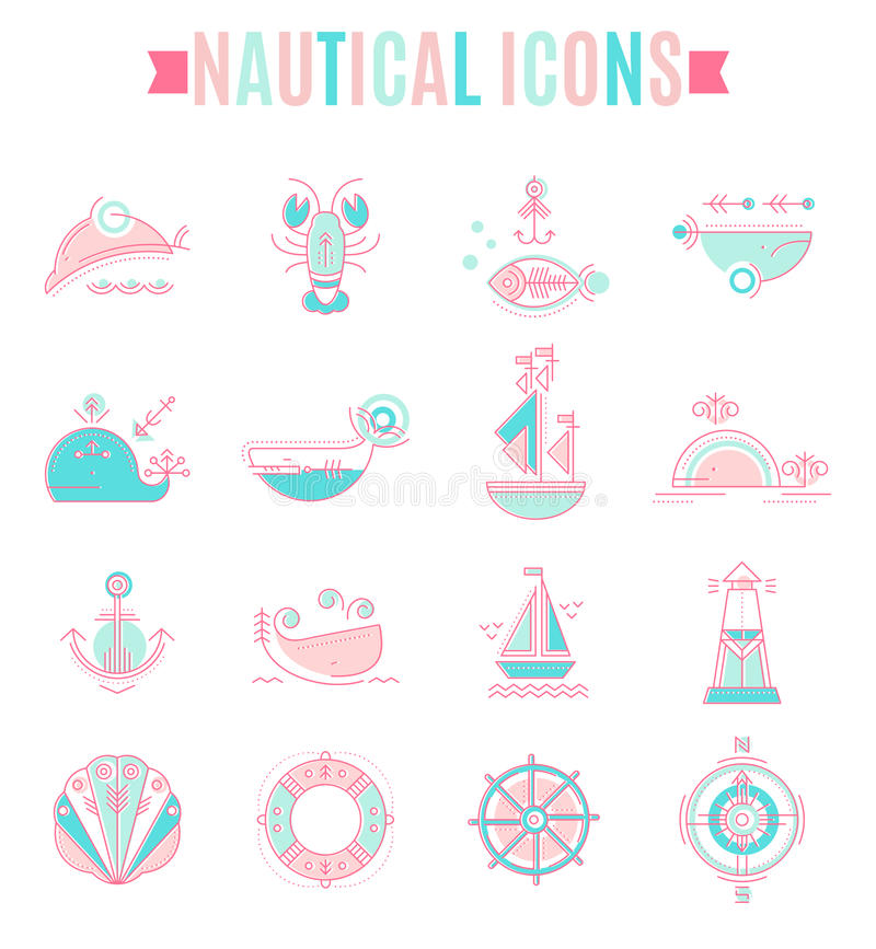 Ναυτικό σύνολο εικονιδίων, minimalistic επίπεδο σχέδιο με τα λεπτά κτυπήματα διανυσματική απεικόνιση