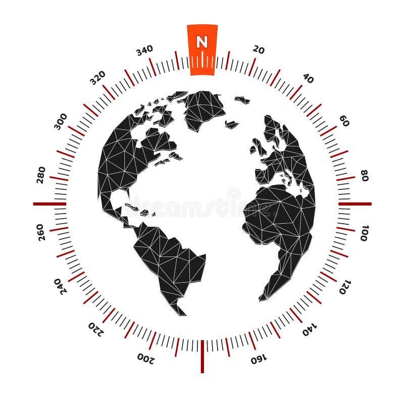 Ναυτικό ταξίδι πυξίδων παγκόσμιων χαρτών σφαιρών Η κλίμακα είναι 360 βαθμοί διανυσματική απεικόνιση