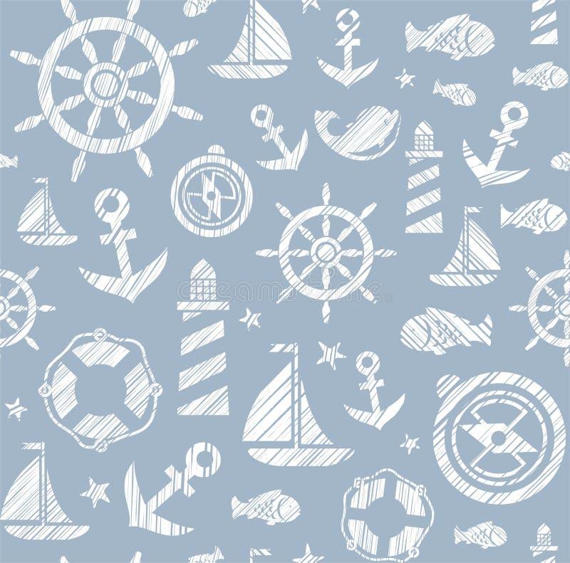 Ναυτικό υπόβαθρο, άνευ ραφής, γκρίζο, διάνυσμα διανυσματική απεικόνιση