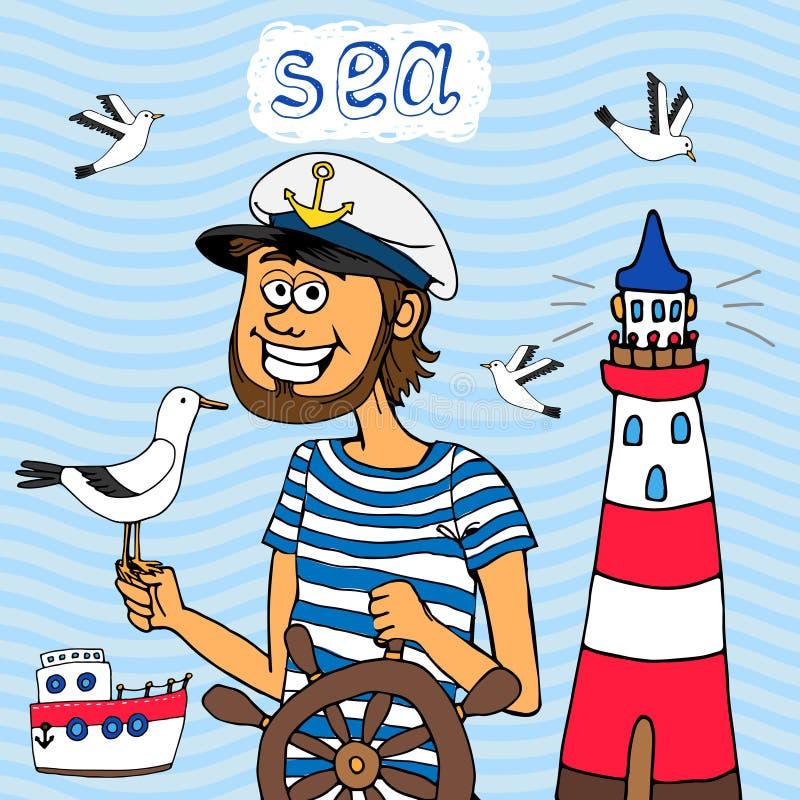 Ναυτικό υπόβαθρο ενός καπετάνιου στη ρόδα ελεύθερη απεικόνιση δικαιώματος