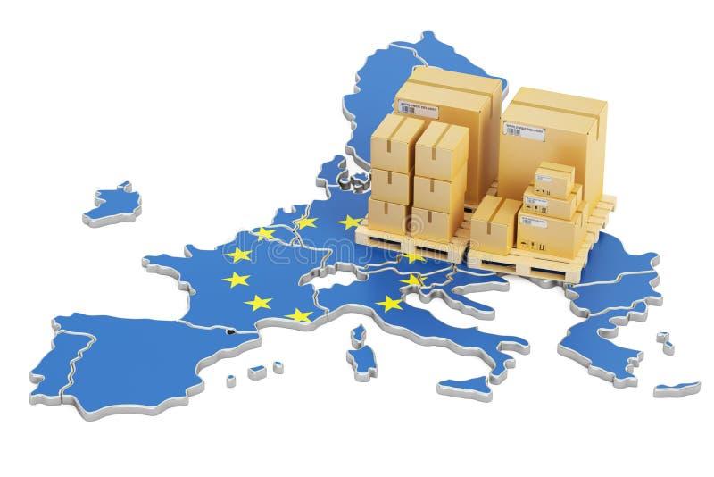 Ναυτιλία και παράδοση από την έννοια της Ευρωπαϊκής Ένωσης, τρισδιάστατη απόδοση ελεύθερη απεικόνιση δικαιώματος
