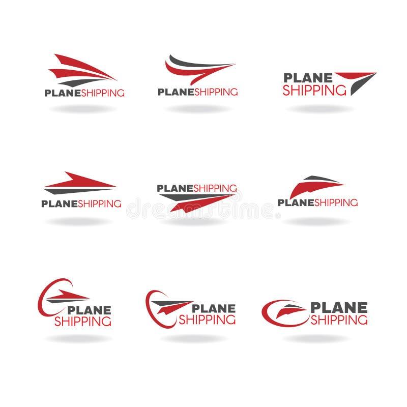 Ναυτιλία μεταφορών αεροπλάνων και διάνυσμα λογότυπων παράδοσης επιχειρησιακό ελεύθερη απεικόνιση δικαιώματος