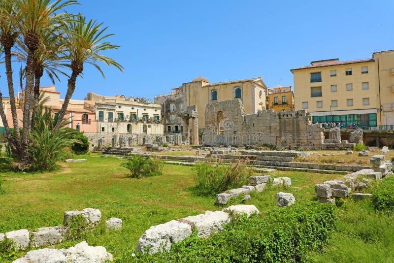 Ναός απόλλωνα, μνημείο αρχαίου Έλληνα σε Ortigia, Συρακούσες, Σικελία, Ιταλία στοκ φωτογραφία με δικαίωμα ελεύθερης χρήσης