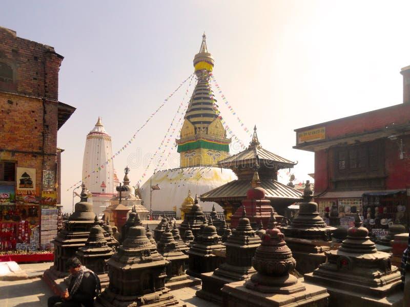Ναός Κατμαντού Νεπάλ πιθήκων aka Swayambhunath στοκ φωτογραφία με δικαίωμα ελεύθερης χρήσης