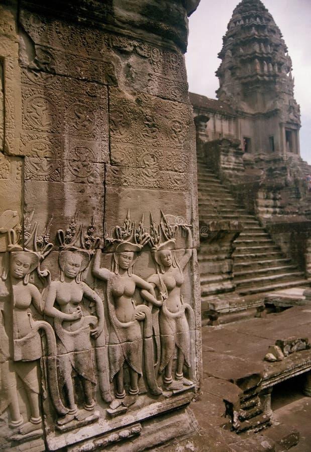 ναός της Καμπότζης asparas τέχνης angko στοκ εικόνες