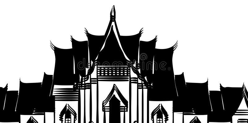 Ναός της Ταϊλάνδης στο άσπρο υπόβαθρο διανυσματική απεικόνιση
