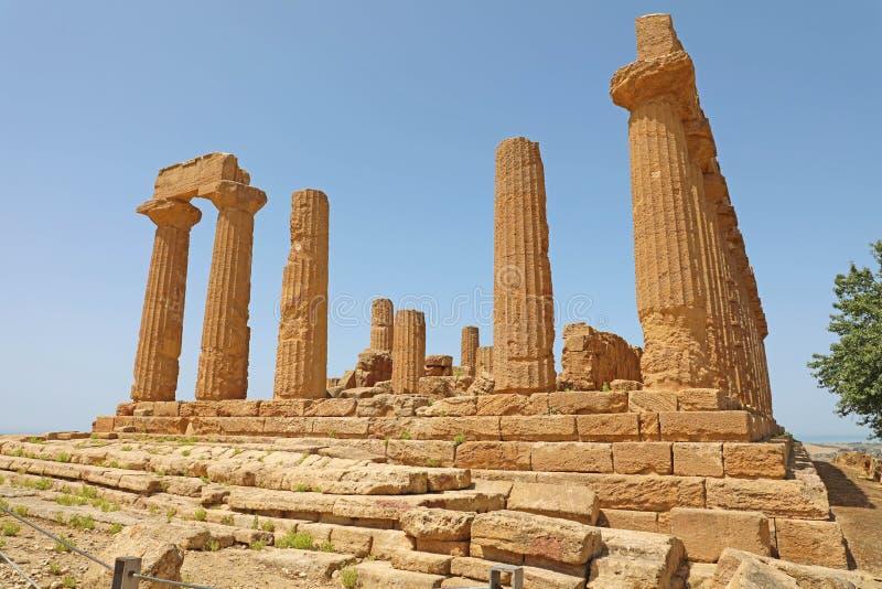 Ναός της Juno Hera στην κοιλάδα των ναών, Agrigento, Σικελία, Ιταλία στοκ εικόνα
