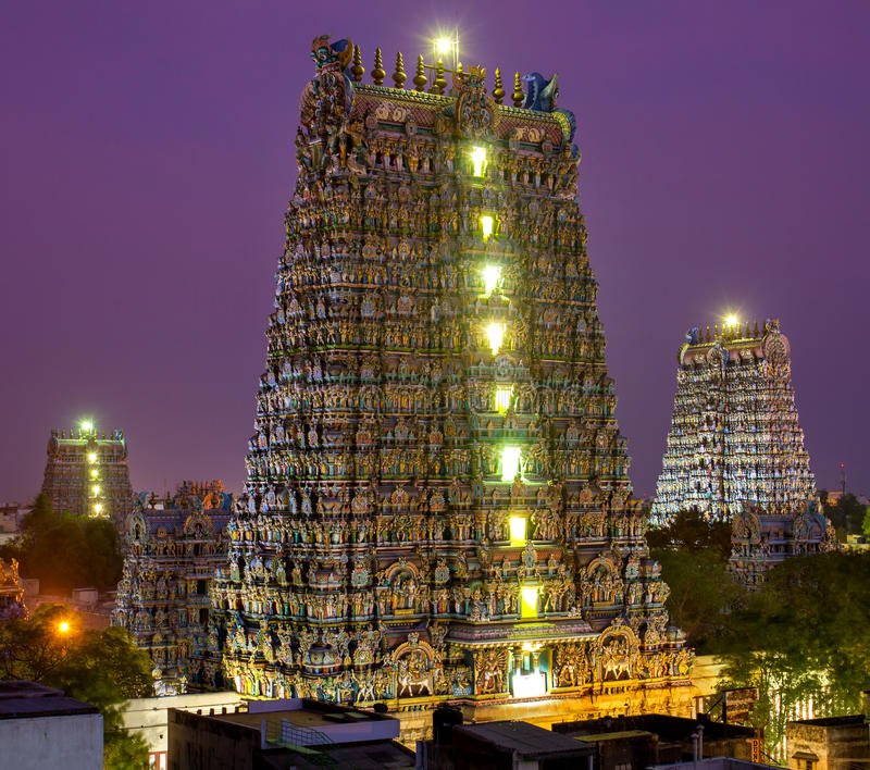 Ναός του MADURAI, ΙΝΔΙΑ Meenakshi στοκ εικόνα