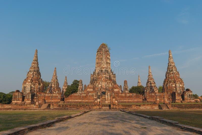 Ναός Chaiwattanaram Wat στο ιστορικό πάρκο Ayutthaya στο χρόνο βραδιού, επαρχία Ayutthaya, Ταϊλάνδη στοκ εικόνες