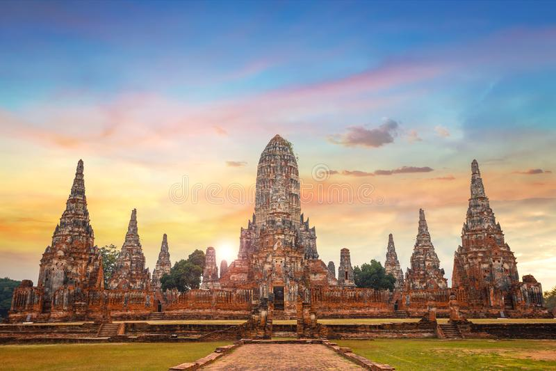 Ναός Chaiwatthanaram Wat στο ιστορικό πάρκο Ayuthaya, Ταϊλάνδη στοκ εικόνα