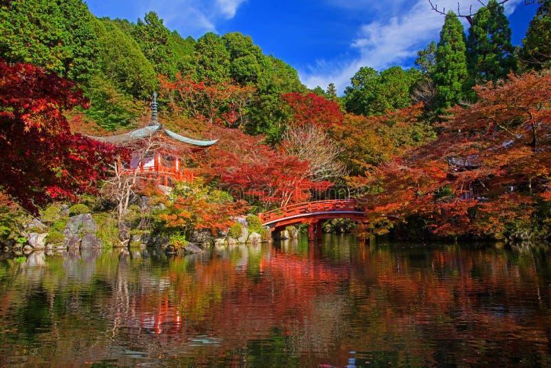 Ναός Daigoji στο φθινόπωρο, Κιότο στοκ εικόνα